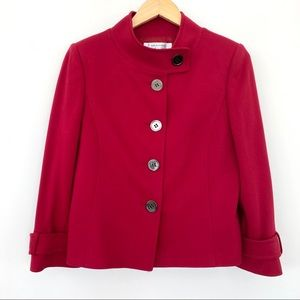 Tahari red cropped jacket